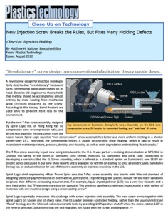 Plastics Technology article on SL Screw technology