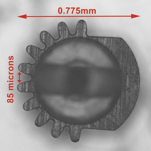Micro molded gear used for cataract surgery device